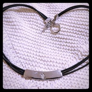 RRL Ralph Lauren Black Leather & Silver Choker
